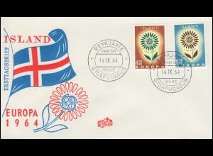Island 385-386 Europa / CEPT 1964 kompletter Satz auf Schmuck-FDC 14.9.64
