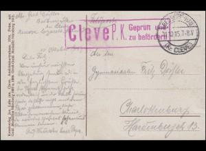 Feldpost Zensur Cleve P.K. auf AK Bad Cleve Schwanenburg BEDBURG-HAU 11.10.15
