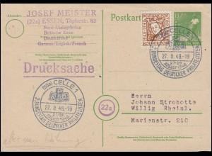 Bizone ab Währunsgreform: 69 Kölner Dom 6 Pf als EF auf P 961 SSt. CELLE 27.8.48