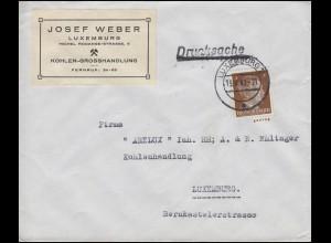 Freimarke Hitler 3 Pf. Drucksache Kohlenhandel Weber LUXEMBURG 15.4.42 an Arelux