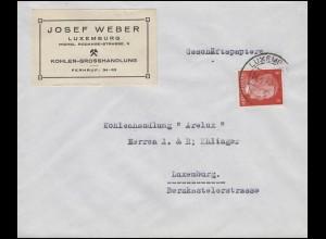 Freimarke Hitler 8 Pf. Orts-Bf. Kohlenhandel Weber LUXEMBURG 14.4.42 an Arelux