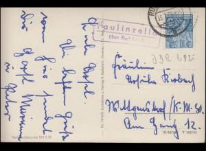 Landpost Paulinzella über RUDOLSTADT 30.7.1958 auf AK Klosterschenke