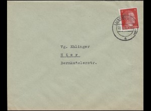 Freimarke Hitler 8 Pf. Bf Arbeitsfront Gauverwaltung Mosellland LUXEMBURG 8.4.42