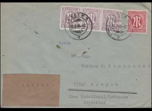 8+17 AM-Post als MiF auf Fern-Brief ESSEN 1 v - 3.6.1946 Aufkleber GERMAN