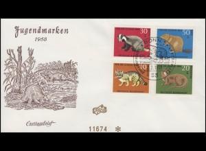549-552 Jugend Pelztiere Biber, Dachs, Fischotter Schmuck-FDC ESSt Bonn 2.2.1968