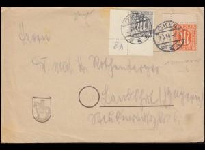11 AM-Post Ecke oben rechts und 5 Ecke unten rechts auf Brief OKER 2.3.1946