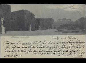 AK Gruss aus Wien Schönbrunn Parterre links 27.12.1897 nach HAMBURG 28.12.97