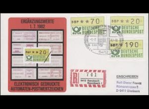 1.1 Drei ATM-Ergänzungswerte 20+70+190 Pf auf Ransbach R-FDC ESSt 1.7.82