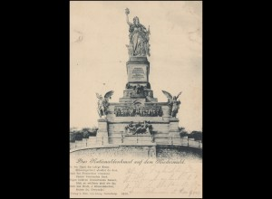 AK Niederwald-Denkmal mit Gedicht, RÜDESHEIM 29.8.1898 nach ISERLOHN 29.8.98