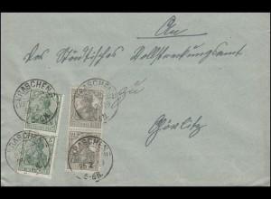 Germania 2mal 5 und 2mal 2 1/2 Pf auf Fern-Brief KRASCHEN (KR. GUHRAU) 26.2.1919
