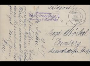 Feldpost Bayer. Fernsprechabt. 6 auf AK Militärreiter FELD-POST 18.6.1917