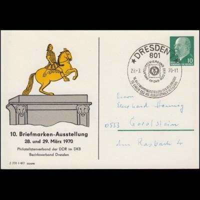 Privat-PK 8/69a Reiterdenkmal 10. Briefmarkenausstellung SSt DRESDEN 28.3.1970