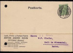 Firmenlochung ASO auf 232 Posthorn als EF auf Postkarte OPPENAU (BADEN) 4.5.23