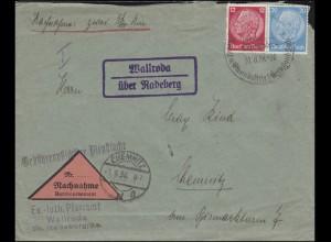 Landpost Wallroda über Radeberg auf NN-Brief SSt RADEBERG Exportbier 31.8.38