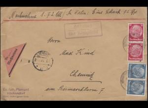 Landpost Höckendorf über KÖNIGSBRÜCK 30.7.38 auf NN-Bf. nach CHEMNITZ 31.7.38