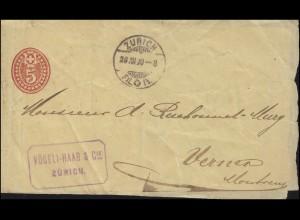 Schweiz Streifband S 12 von ZÜRICH 28.8.1890 nach Vernex / Montreux