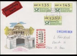 1.1 ATM 135+145+350, Eil-R-Brief Ersttag Terminal WIESBADEN 7.10.82 - tb