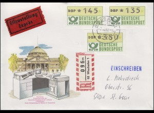 1.1 ATM 135+145+350 Pf. Ersttag Terminal Eil-R-Brief WIESBADEN 7.10.1982 - tb