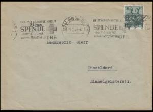 42 I Band 16 Pf als EF auf Orts-Brief DÜSSELDORF Rotes Kreuz 15.7.1948