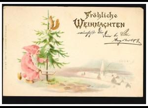 Prägekarte Fröhliche Weihnachten Zwerg fällt Tannenbaum, ESCHWEILER 24.12.1901