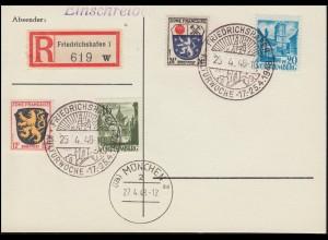 Blanko-R-PK mit SSt FRIEDRICHSHAFEN Kulturwoche 25.4.48 + MÜNCHEN 2 ae 27.4.1949