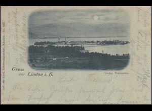 AK Gruss aus Lindau im Bodensee - Totalansicht, 27.7.1898 nach MÜNCHEN 27.8.98