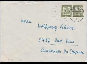 202 Dürer im Paar als MeF auf Fern-Brief BERLIN 11 - 23.9.65 nach Bad Ems