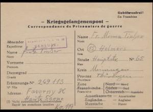 Kriegsgefangenenpost Depot 86/119 Faverney/Haute-Saone n. Helmers/Thür 15.9.1946