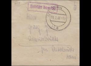Gebühr-Bezahlt als Rahmenstempel auf Streifband KIRN 13.2.1948 aptiert