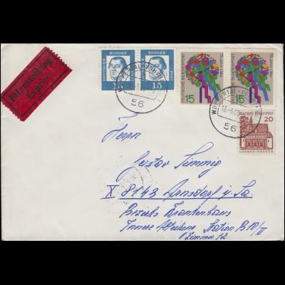 351y Luther 15 Pf. Paar in MiF Eil-Brief WUPPERTAL-VOHWINKEL 16.5.65 n. Arnsdorf