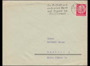 Firmenlochung SEL auf Hindenburg 12 Pf. EF auf Brief AUE (SACHSEN) 10.2.34