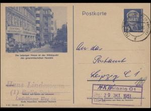 P 47/03 Pieck - Leipziger Messe, HOHEN NEUENDORF b. BERLIN 28.10.51 nach Leipzig