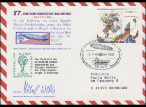 87. Kinderdorf-Ballonpost D-OSTZ Graf Zeppelin-Museum Friedrichshafen 2.7.1996