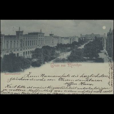 AK Gruss aus München Regierungsgebäude 20.7.1898 nach HEIMENKIRCHE 22.7.98