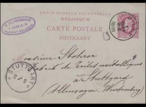 Belgien Postkarte König Leopold II. 10 C von GILLY 1.9.1888 nach STUTTGART 2.9.