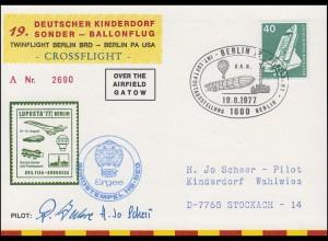 19. Kinderdorf-Sonderballonpost HB-BEG Ergee Deutschland-USA BERLIN 19.8.1977