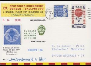 19. Kinderdorf-Sonderballonpost US N 51490 TRANQUILITY Berlin / USA 6.9.1977