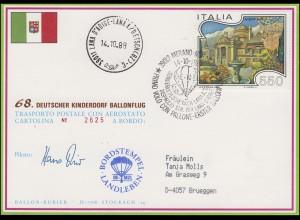 68. Kinderdorf-Ballonpost OE-MZL LANDLEBEN Meran - Lana / Italien 14.10.1988