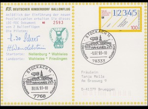 83. Kinderdorf-Ballonpost HB-BAE Nellenburg - Wahlwies - Friedingen 1.7.93