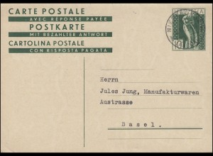 Schweiz Postkarte P 142 Mater Fluviorum als Privatpostkarte NIEDERLENZ 26.6.1933