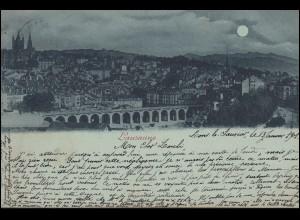 AK Lausanne bei Nacht, LONS LE SAUNIER 13.1.1901 nach SAINT LAURENT DU JURA