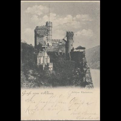 AK Gruss vom Rhein Schloss Rheinstein, RÜDESHEIM 29.5.1898 nach ISERLOHN 30.5.98