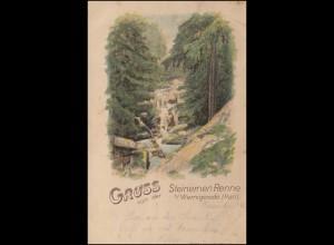 Ansichtskarte Gruss von der Steinernen Renne, WERNIGERODE18.7.1898 nach BERLIN