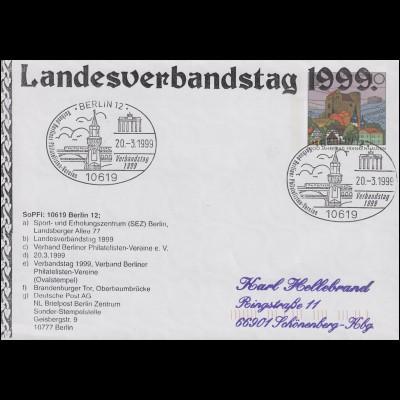 Plusbrief USo 1 Zudruck Landesverbandstag 1999 SSt BERLIN 20.3.1999