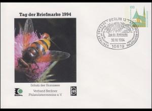 PU 290 Tag der Briefmarke Schutz der Hornissen, SSt Berlin Hummeln 30.10.1994