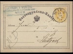Österreich Postkarte P 14, WIEN 30.10.1873 n. Stuttgart, radiert / dünne Stellen