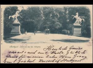 AK Stuttgart - Partie in den Kgl. Anlagen, 14.9.1908 nach KIEL 15.9.08