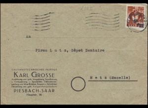 233ZII Aufdruck 6 auf 24 als EF auf Brief SAARBRÜCKEN 2 Dezember 1947 nach Metz