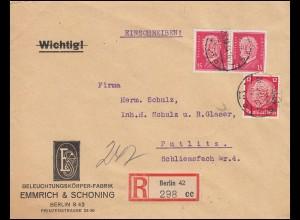 Firmenlochung E&S auf Hindenburg-Marken als MiF auf R-Brief BERLIN 26.10.34