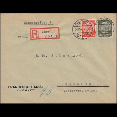 Firmenlochung FP auf Hindenburg-Marken MiF auf Orts-R-Brief CHEMNITZ 20.11.33